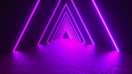 straight road : 3D rendering, abstract geometric background, virtual reality, computer generated fluorescent ultraviolet light, glowing neon lines, a triangular tunnel with a straight smooth road