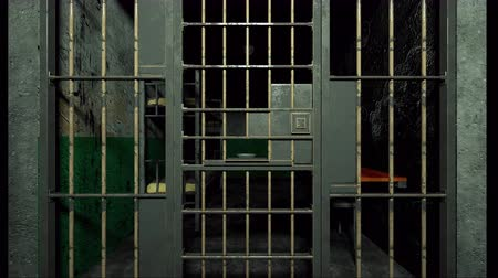 grim : Computer generated grim prison interior through bars 3d rendering backdrop