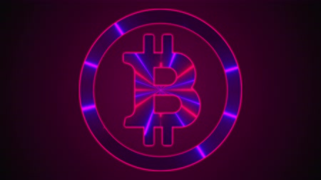 кошелек : Bitcoin with neon lines. Computer generated digital emblem. 3d rendering cryptocurrency over web backdrop