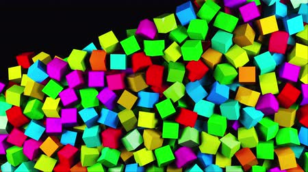 estratégico : 3D rendering of modern background. Computer generated abstract animation many multicolor cubes fall on top and fill the entire screen Stock Footage