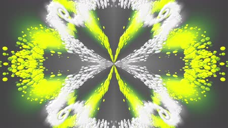 lágyság : Computer generated beautiful abstract backdrop from spots and splashes. Kaleidoscope converts colors into a flower image, 3D rendering Stock mozgókép