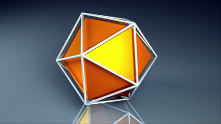 origens : Computer generated icosahedron. Orange platonic inside a lattice, 3d rendering geometric background