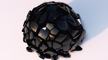 lom světla : 3D rendering modern abstract background. Computer generated glass black ball falls and destructions into shards