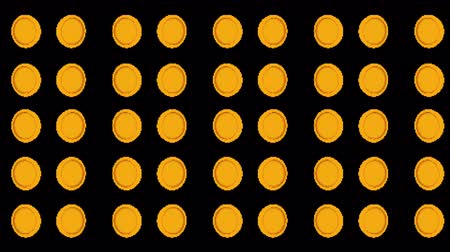 prémie : Computer generated set of spinning rows with 8 bit gold coins. 3d rendering win backdrop Dostupné videozáznamy