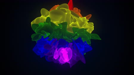 ofset : Multicolor shapeless object with torn edges. Computer generated a modern abstract background, 3D rendering