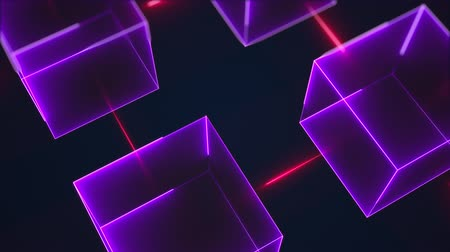 fluorescent : Connection structure of many neon cubes. Computer generated abstract isometric background, 3d rendering