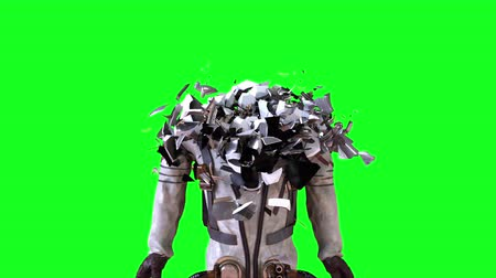protective suit : Astronaut in a metal protective spacesuit is destroyed into small particles. Computer generated space background, 3d rendering