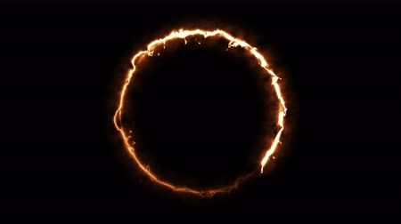 gradual : Computer generated fire energy ring on black background. 3d rendering of abstract fire circle