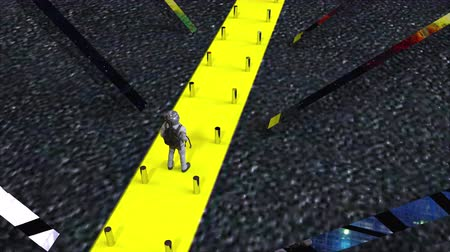 surrealismo : Computer generated an abstract composition in outer space. The astronaut is walking along a narrow yellow way. 3d rendering of a futuristic background