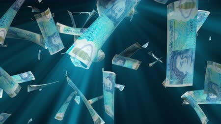 esterlino : Many pound sterling bills fall from above, 3d rendering. Computer generated backdrop with effect of money rain. Business success