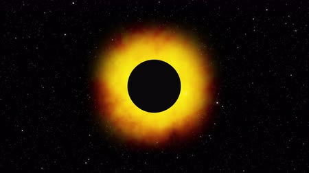 estrelado : Computer generated solar eclipse against a starry backdrop, 3D rendering