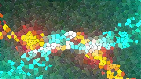 stopmotion : Antique multicolor mosaic of various shapes. Computer generated abstract background, 3d rendering