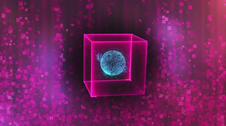 picture box : Neon cube with data center in zero gravity on an glare abstract background, computer generated 3d rendering