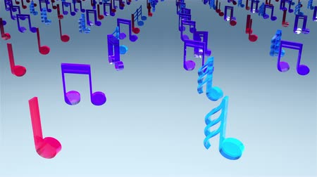 bassê : Computer generated 3D rendering. Rows of many glass multicolor musical notes on web background
