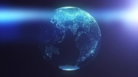 presented : Globe composed of particles and dots illuminated by rays of light. Computer generated 3d rendering of digital earth background