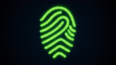 impressão digital : Fingerprint of shining particles. Computer generated web background. 3d rendering of concept scanning a fingerprint on a digital screen Stock Footage