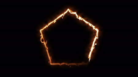 gradual : Computer generated fire energy polygon on black background. 3d rendering of abstract fire circle