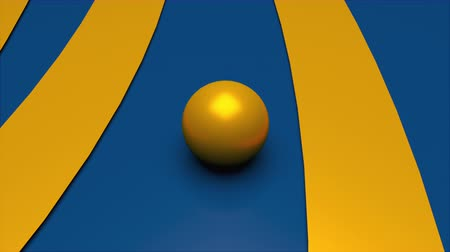 сферический : Computer generated crossing the golden ball and wide stripes. 3d rendering of abstract background