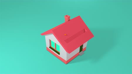 kumbara : Piggy bank in the form of a house and falling gold coins. Computer generated a coin falling into house. 3d rendering isometric background