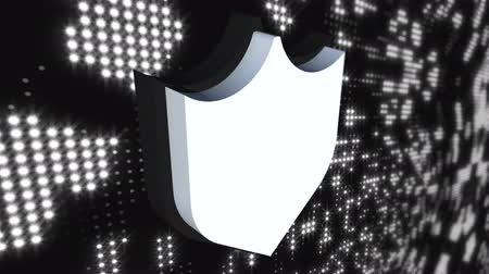 антивирус : Icon cybersecurity shield on digital modern background, computer generated. 3d rendering of data protection abstract concept