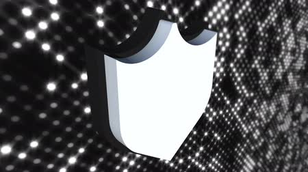 pictograma : Icon cybersecurity shield on digital modern background, computer generated. 3d rendering of data protection abstract concept