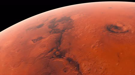 presented : Flying over the red surface of the planet Mars, computer generated. 3d rendering of realistic cosmic background.