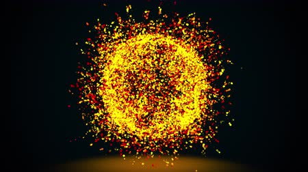 グリマー : 3d rendering, computer generated abstract sphere or ball of golden shimmering particles on a black background