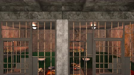 grim : Computer generated backdrop. Several empty gloomy prison blocks on two floors. 3d rendering