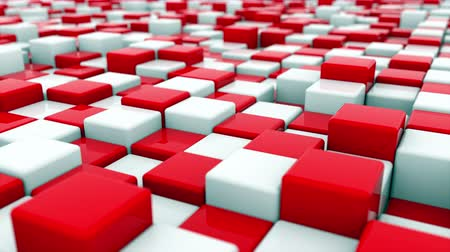 box set : 3d rendering web background of white and red cubes located at different levels. Computer generated abstract area. Stock Footage