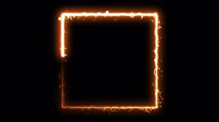 gradual : Computer generated fire energy square on black background. 3d rendering of abstract fire circle