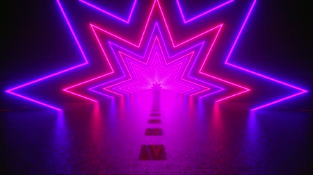 подиум : 3D rendering, abstract geometric background, virtual reality, computer generated fluorescent ultraviolet light, glowing neon lines, a star tunnel with a straight road