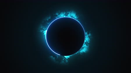 fenomen : Computer generated a dark round disk with a neon border against the backdrop of rapidly moving clouds. 3d rendering solar eclipse phenomenon