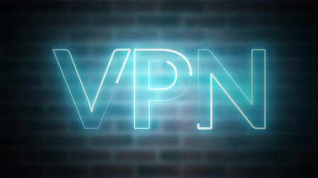 list : 3D rendering of shine text VPN against the background of brick, computer generated wireframe symbol with glowing laser light
