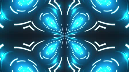 yaymak : Abstract kaleidoscope of luminous neon lines forming the petals and circles. 3d rendering computer generated background Stok Video