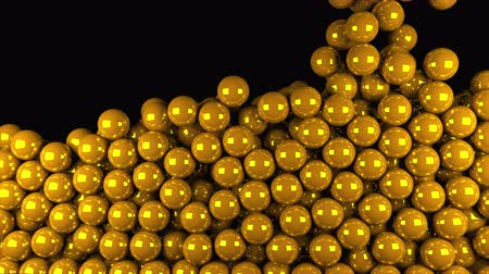 bezelye : Computer generated animation many gold balls fall on top and fill the entire screen. 3D rendering of modern background. Stok Video