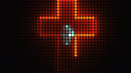 sel : Computer generated bright display of running dottes lights. 3D rendering of led background for disco