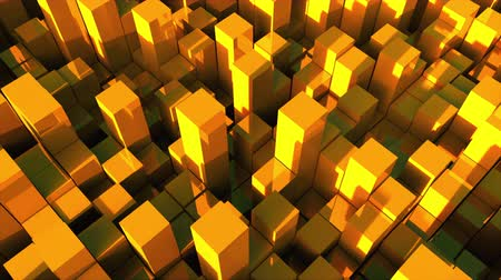 forrado : 3d rendering background of many gold rectangles located at different levels. Computer generated abstract surface