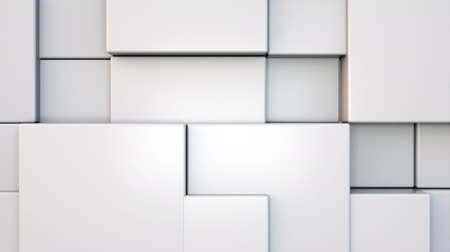 integrado : Computer generated background transformation of large rectangles into small. 3d rendering geometric wall Stock Footage