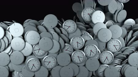 temporal : 3D rendering of modern backdrop. Computer generated animation many wall clocks fall on top and fill the screen