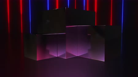 пьедестал : Computer generated a pedestal and a showcase with neon lines. 3d rendering fashion background