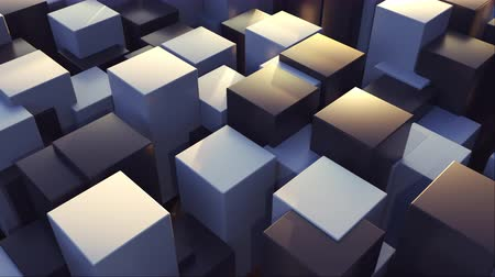 integrált : 3d rendering geometric surface. Transformation of rectangle elements of different levels with a square base. Abstract structure with cubes, computer generated Stock mozgókép