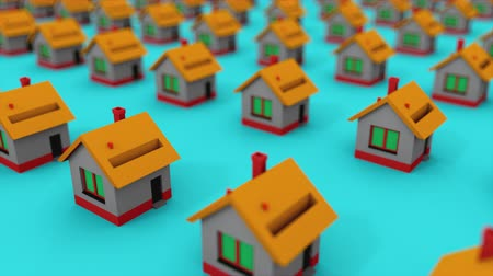 příloha : Many rows of colorful houses. House property market for rent and home buyers, computer generated. 3d rendering isometric background