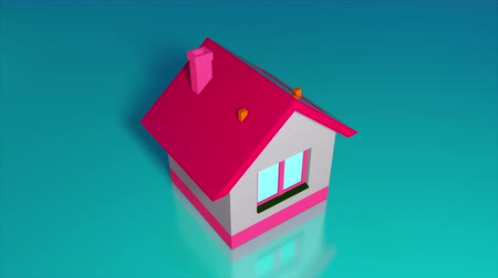 collected : Piggy bank in the form of a house and falling gold coins. Computer generated a coin falling into house. 3d rendering isometric background