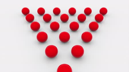 редактируемые : Composition of fifteen red balls lined with a triangle on a flat surface, computer generated. 3d rendering isometric background