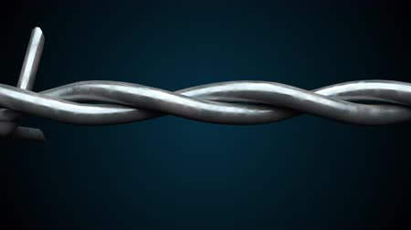 retorcido : 3d rendering spinning barbed wire spiral. Computer generated background with barbed wire.