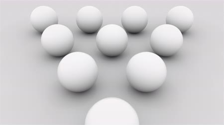dez : Composition of ten white balls lined with a triangle on a flat surface, computer generated. 3d rendering isometric background