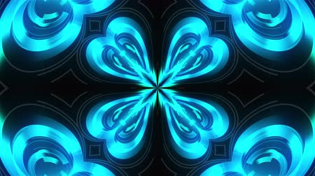 Kaleidoscope of luminous ring glass stripes forming beautiful hearts. 3D rendering computer technology backdrop Dostupné videozáznamy