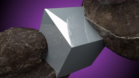 dois objetos : Two rocks and cube with reflection, 3d abstraction, 3d rendering computer generated background Stock Footage