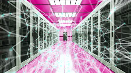 evsahibi : Server room and connection dots in datacenter, web network and internet telecommunication technology, data storage and cloud service concept, 3d rendering
