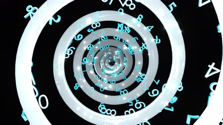 relativity : Time endless abstract spiral with many numbers, 3d rendering computer generated background